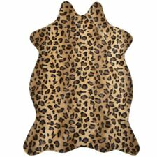 3.6'x2.5' Animal Print Leopard Skin Area Rug Faux Fur Rug Carpet Blanket Washabl