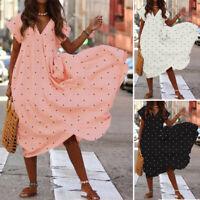 UK Womens Polka Dot Short Sleeve V Neck Sundress Ladies Party Club Midi Dresses