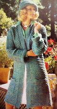 "Ladies Long Coat Jacket Cardigan Pockets Brimmed Hat KNITTING PATTERN DK 34 -40"""