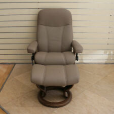 Stressless Consul Recliner and Footstool, Batick Mole Leather - Showroom Model