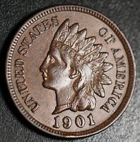 1901 INDIAN HEAD CENT - With LIBERTY & Near 4 DIAMONDS - AU UNC