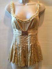 Elie Tahari 100% Silk Champange Sleeveless Top XS Pleated Lace Gold Tone Buckle