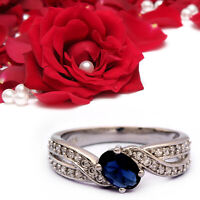 Created Blue Sapphire Engagement Ring 925 Sterling Silver Eternity Stacking Ring