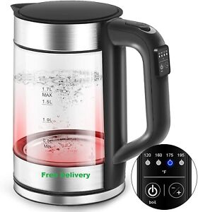 ELECTRIC GLASS KETTLE WITH MULTI LED AND VARIABLE TEMP CONTROL 1.7L Top Quality