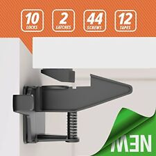 10 Cabinet Locks & 2 Safety Latches Heavy Duty Adhesive Childproof No Tools Need