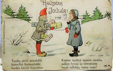 1910 FINNISH CHRISTMAS POSTCARD SANTA CLAUS IN WOODEN SHOES WITH GIFTS