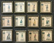 CHARLES DICKENS Book Covers Framed Collection Set Lot Nelson Vintage Wall Art 12