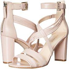 Nine West Norita 9.5 Light Natural Synthetic Open Toe Block Heel Dress Sandal