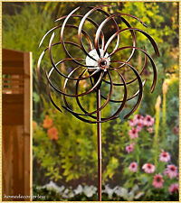Double Spiral Solar Lighted Bronze Garden Wind Spinner Pinwheel Yard Art Decor
