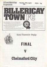 Billericay Town v Chelmsford City 1986/7 (28 Apr) Essex Thameside Trophy Final