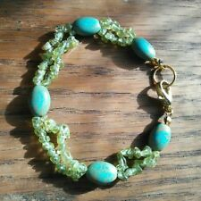 Handcrafted 7 1/2 Inch Peridot and Magnesite Beaded Bracelet
