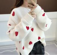 winter Womens Heart Loose Long Sleeve Knit Coat Pullover Jumper Sweater Top