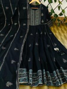 Women Flared Kurta Kurti Dupatta Designer Long Gown Partywear Suit Stitched Gown