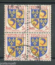 FRANCE - 1953, timbre 954 en BLOC, ARMOIRIES DAUPHINE, oblitéré, VF used stamp