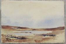 DUNCAN BRUCE - DEW POND - LISTED ARTIST WATERCOLOR - C.1980 - FREE SHIP!