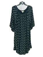Style & Co. Women's Plus Black Floral Half Sleeve Drop Waist Dress Size 2X NEW