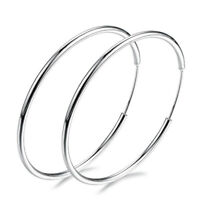925 Silver Big Large Round Circle Ear Hoop Women's Earrings Wedding Jewelry New