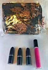 MAC Black & Rose Gold LE Cosmetic Bag 3 Travel Lipsticks & Full Lip Gloss GLOBAL