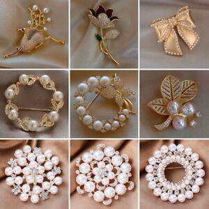 Fashion Crystal Pearl Flower Rhinestone Wedding Bridal Brooch Pin Jewellery Gift