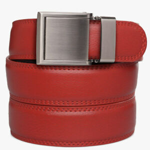 SlideBelts Factory Seconds Kids Red Leather Ratchet Belt