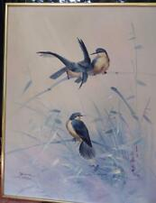 Original Oil Painting Blue Birds Asian Inspired Signed Bruce Framed 20 X 25