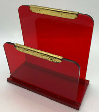 Vintage Red Lucite Acrylic Desk Accessory Letter Paper Holder Plastic Mail