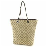 Gucci Tote bag G logos Brown Beige Woman Authentic Used T7537