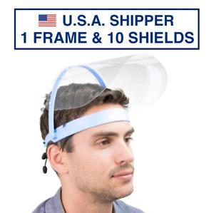 Safety Full Face Shield Clear Flip-Up Visor 1 PACK 10 SHIELDS Mask Cover Medical