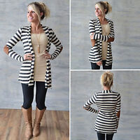 Womens Striped Long Cardigan Sweater Long Sleeve Casual Slim Fit Patch Jacket US