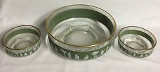 HELLENIC GREEN SERVING BOWL and 2 NAPPY BOWLS  by JEANNETTE GLASS #20424