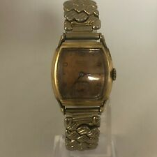 Vintage Banner Precision Mens Wind Up Gold Tone Stainless Steel Watch
