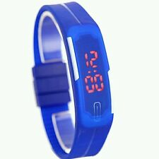 Sport Blue Watch Unisex Niño Electrónico Digital Led Jelly Reloj Pulsera