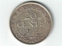 NEWFOUNDLAND 1912 20 CENTS KING GEORGE V STERLING SILVER CANADIAN COIN