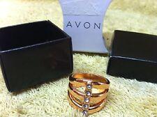 Avon Essential Metals Multi Row Ring Rose Goldtone Size 8