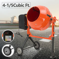 Portable 4-1/5cuft Electric Concrete Cement Mixer Barrow Machine Mixing Mortar