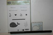 e STAMPIN UP RETIRED STAMP OH, WHALE W/ MATCHING HAPPY WHALE SIZZIX CLEARLITS
