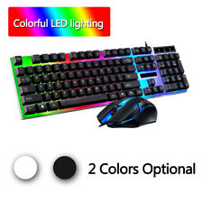 Led Light Backlit Computer Desktop Gaming Wired Keyboard With Mouse Mechanical