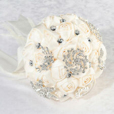 Crystal Flower Bouquet White or Ivory Bridal Bride