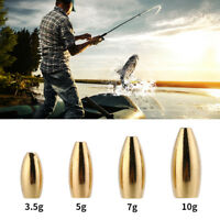 10Pcs Fishing Hook Bait Sinkers Bullet Shape Copper Kit Tackle 3.5g, 5g, 7g, 10g