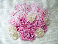 Lot of 25  Ombre Ribbon Flowers, Millinery,Ribbon Work pinks ivory Dolls Newborn