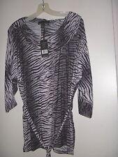 "Woman's Isabella Rodriguez Black/Gray Animal Print Zebra Top 3/4"" Sleeves 1X NWT"