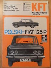 KFT KRAFTFAHRZEUGTECHNIK 12/1969 ** Test Polski Fiat 125 Autobianchi Renault R12