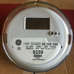 GENERAL ELECTRIC (GE) - WATTHOUR METER (KWH), MODEL I-210, 240 VOLTS, 200A, FM2S