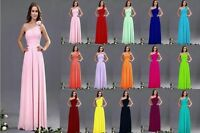 Chiffon One Shoulder Evening Formal Party Ball Gown Prom Bridesmaid Dress 6-18