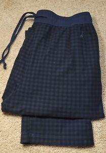 New! NAUTICA SLEEPWEAR-Blue/Black Check Flannel, Mens Lounge Pants-(M)