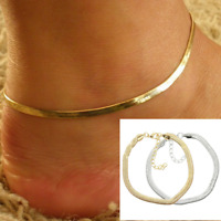 Women Simple Ankle Bracelet Snake Chain Beach Anklet Foot Jewelry Gold Silver