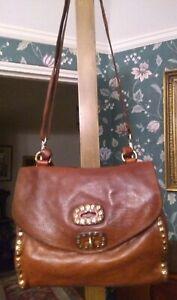 Campomaggi Brown Leather Studded Shoulder Bag
