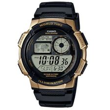 Casio AE-1000W-1A3 Gold Black Youth Series  World Time Digital Sports Watch