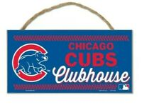 """Brand New MLB Baseball Chicago Cubs Clubhouse 5"""" X 10""""  Wooden Sign With Rope"""