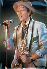 """DAVID BOWIE """"SERIOUS MOONLIGHT TOUR, HOLDING MICROPHONE"""" 1983 COMMERCIAL POSTER"""
